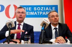 Úřadující předseda FPÖ Norbert Hofer a ministr vnitra Herbert Kickl