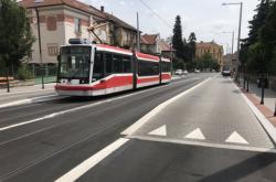 Tramvajová zastávka v Údolní ulici v Brně