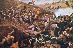 Vyobrazení bitvy u Boyacá od venezuelského malíře Martína Tovara y Tovara