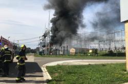 Požár trafostanice u Otrokovic
