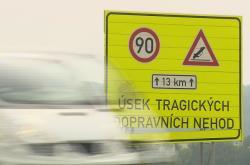 Nebezpečný úsek silnice I/48 u Starého Jičína