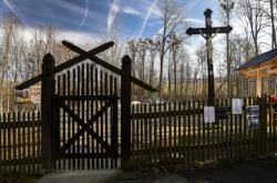Místo, kde stával historický dřevěný kostel Božího Těla v Třinci-Gutech