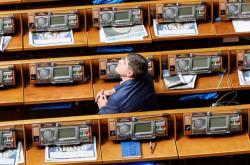 Ukrajinský poslanec před zahájením zasedání parlamentu