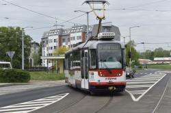 Tramvaj na točně v Olomouci-Neředíně