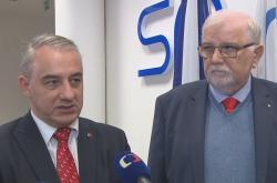 Josef Středula a Jaroslav Hanák po společném jednání o minimální mzdě
