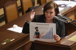 Ministryně financí Alena Schillerová na schůzi Poslanecké sněmovny
