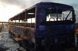 Požár autobusu u dálnice D1