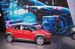 Hyundai Kona Electric při premiéře na mezinárodním autosalonu v Ženevě (2018)