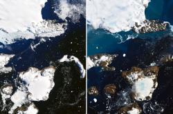 Satelitní snímky ukazující vliv teplotních změn na Eagle Island