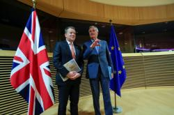 David Frost a Michel Barnier na brexitovém jednání na konci března