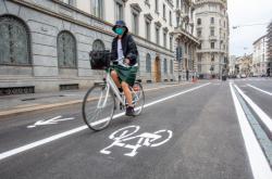 Cyklista v Milánu