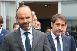Francouzský premiér Edouard Philippe a Ministr vnitra Christophe Castaner