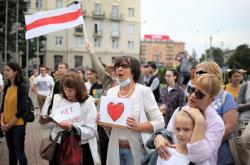 Protestní akce v Minsku 21. srpna 2020