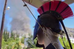 Požár v historickém koplexu řeckých Mykén