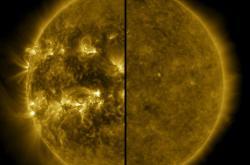 Rozdíl mezi slunečním maximem (vlevo) a minimem (vpravo)