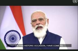 Indický premiér Naréndra Módí promlouvá k OSN v předem nahraném videu