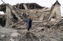 Ruiny domu ve Stěpanakertu v Náhorním Karabachu