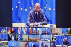 Charles Michel mluví na videokonferenci s lídry EU