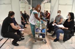 Očkovací centrum v záložní nemocnici v Brně
