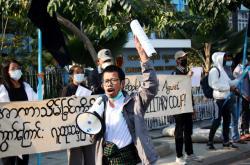 Protest v Mandalaji proti puči