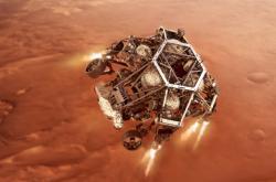 Vizualizace přistání Perseverance na Marsu