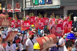 Protest ve městě Mandalaj