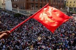 Pondělní protesty proti puči v Rangúnu