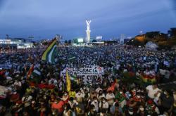 Demonstrace proti uvěznění bolívijské exprezidentky Jeaniny Áňezové