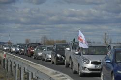Protest polských řidičů na podporu dolu Turów