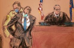 Kresba ze soudního procesu s expolicistou Chauvinem