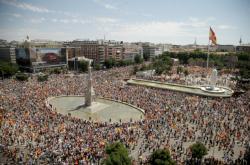 Demonstrace v centru Madridu