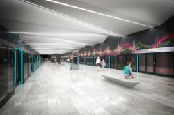 Vizualizace podoby stanice Nemocnice Krč v návrhu Jiřího Černického