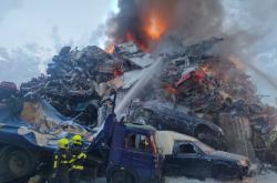 Požár vrakoviště v Ostravě-Mariánských Horách