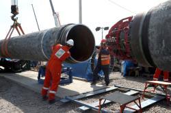 Stavbu plynovodu Nord Stream 2 v Rusku (červen 2019)