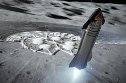 Vizualizace přistání modulu SpaceX u budoucí stanice