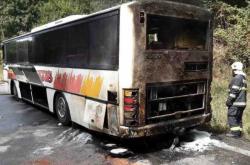 Zásah hasičů při požáru autobusu na Šumpersku