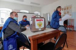 Volební místnost ve vesnici Novoje Bobreněvo v Moskevské oblasti