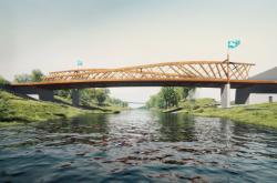 Vizualizace nového mostu přes řeku Ostravici v Ostravě