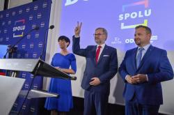 Lídři koalice SPOLU ve volebním štábu