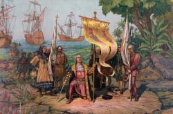 Kryštof Kolumbus připlouvá do Ameriky