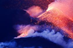 Pokračující erupce sopky Cumbre Vieja 21. října 2021