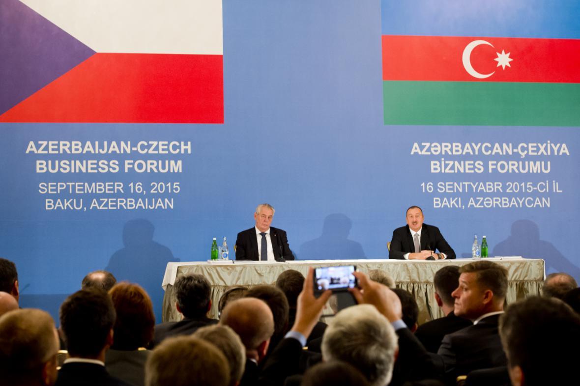 Miloš Zeman a Ilham Alijev na česko-ázerbájdžánském podnikatelském fóru