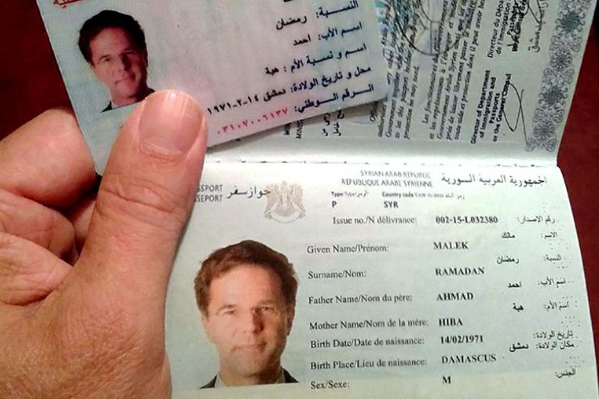 Falešný syrský pas na jméno Málik Ramadán