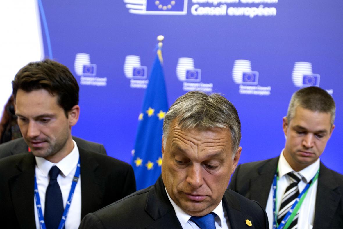 Maďarský premiér Viktor Orbán po summitu EU