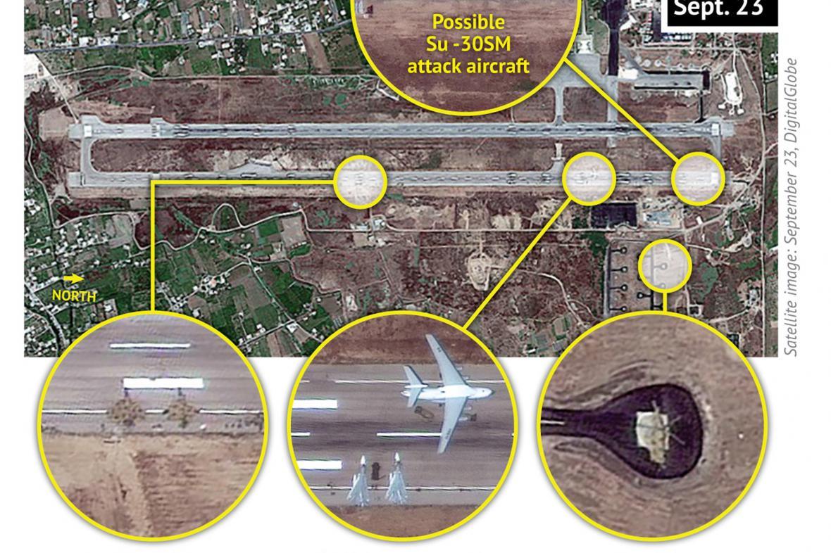 Asadova letecká základna v Sýrii