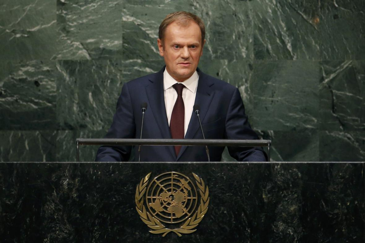 Donald Tusk při projevu v OSN
