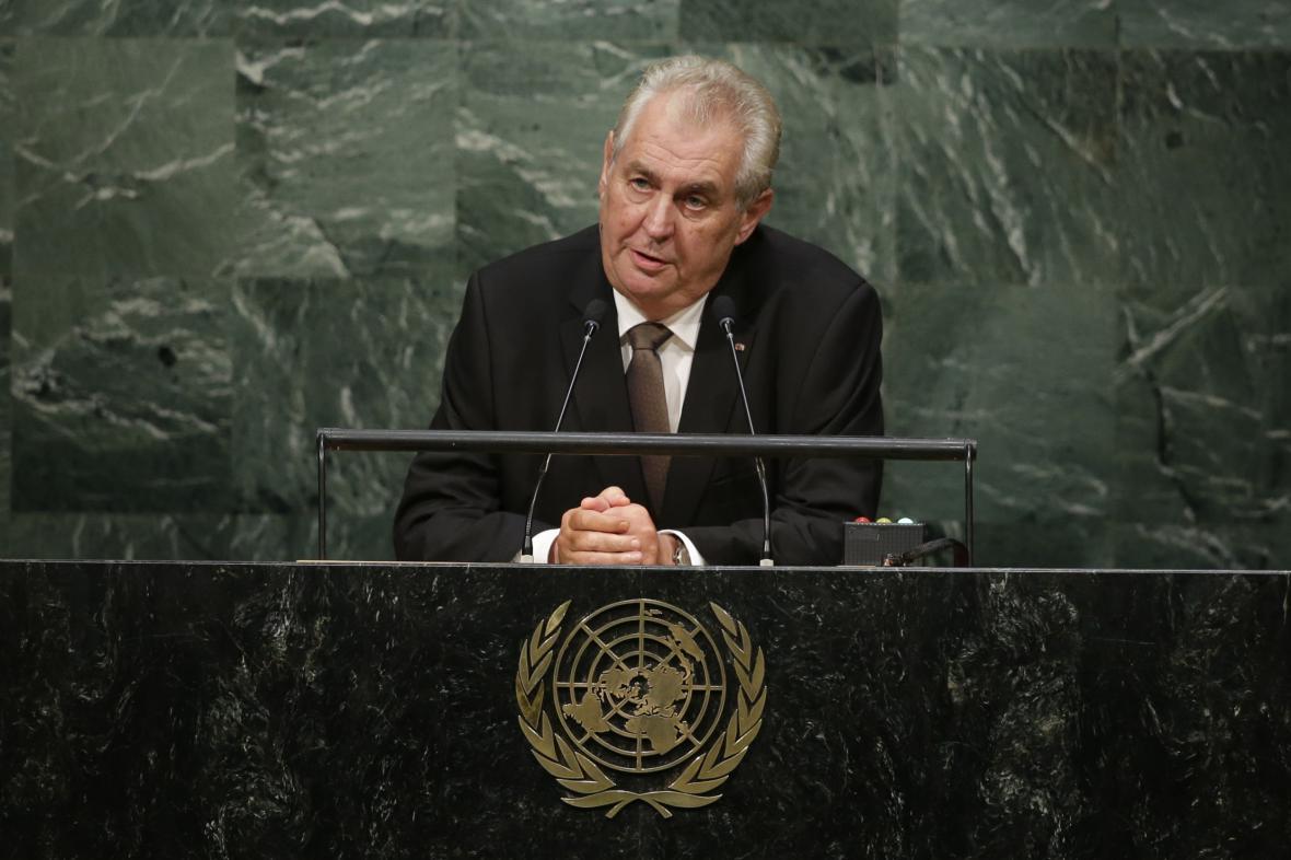 Miloš Zeman při projevu v OSN