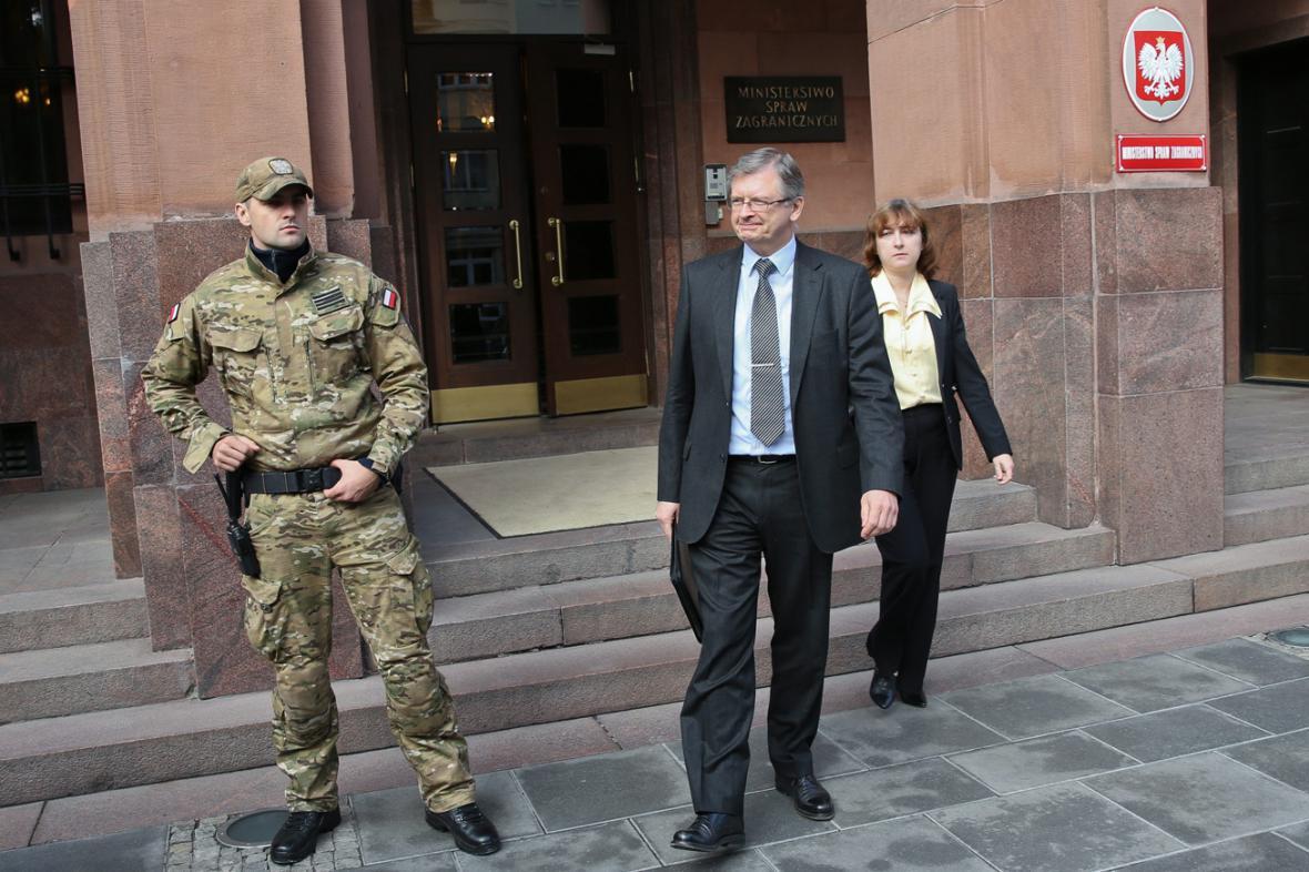 Ruský velvyslanec v Polsku Sergej Andrejev na ministerstvu zahraničí ve Varšavě