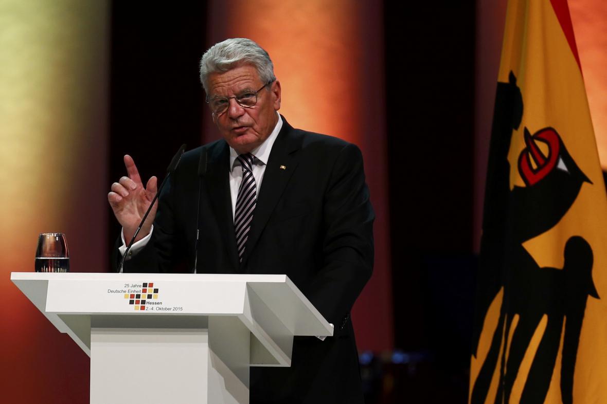 Joachim Gauck při oslavách 25. výročí sjednocení Německa