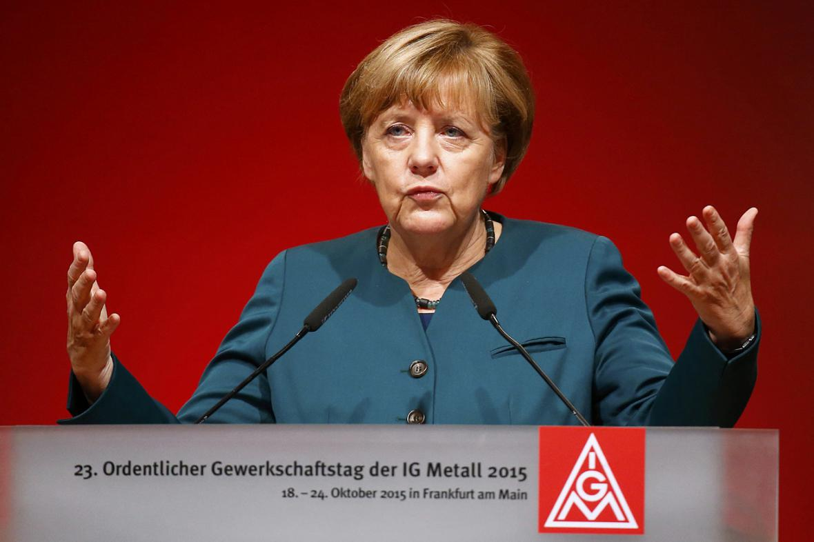 Angela Merkelová na kongresu IG Metall